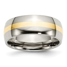 Stainless Steel and 14k Yellow Inlay 8mm Polished Band