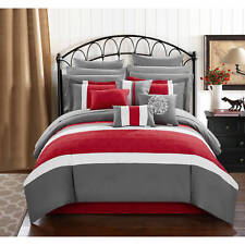 Chic Home 16-Piece Keira King Bed In a Bag Comforter Set Red