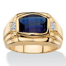 Men's 2.20 TCW Cushion-Cut Lab Created Blue Sapphire and Diamond Accent Ring 18k