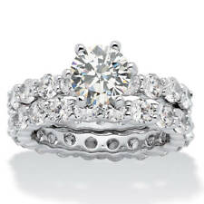 5.60 TCW Round Cubic Zirconia Platinum-Plated Bridal Engagement Ring Eternity