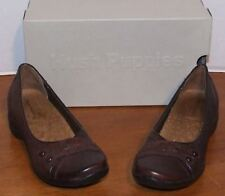 Hush Puppies Burlesque Dark Brown or Black Leather Flats