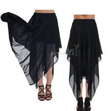 Women Chiffon High Waist Maxi Dress Skater Flared Pleated Long Skirt Plus S-XXL