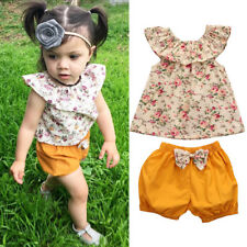 Toddler Kids Baby Girls Summer Outfits Clothes T-shirt Tops+Shorts Pant 2PCS Set
