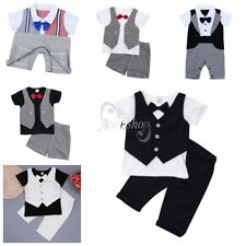 Baby Boy Wedding Formal Dressy Tuxedo Suit Striped Romper Bow Tie Outfit Clothes