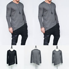 Mens Solid Casual T-shirt Crew Neck Tee Long Sleeve Tops Slim Fitted Hem L-2XL