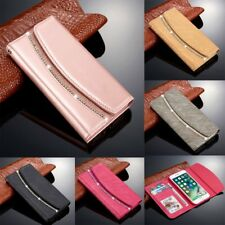 New Diamond Crystal Magnetic Leather Flip Wallet Case Cover For iPhone 6s 8 Plus