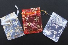 20 X CHRISTMAS SNOWFLAKE ORGANZA BAGS SMALL 7CM X 9CM / RED OR WHITE
