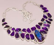 AMETHYST DUMODURITE RAINBOW MOON STONE 925 STERLING SILVER PLATED NECKLACE