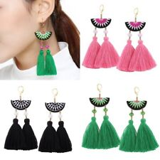 1Pair New Women Boho Ethnic Style Crystal Beads Embroidery Double Tassel Earring