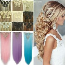 UK Real Thick 18Clips Clip in Full Head Hair Extensions Extension As Human Hair