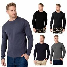 Mens Solid Classic Crew Neck Long Sleeve Wool Knit Jumper Sweater Pullover Top