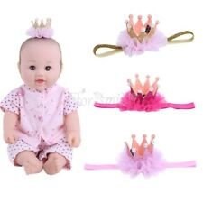 New Baby Kids Girls Shiny Crown Princess Hair Clip Elastic Lace Pearl Headband