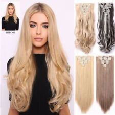 Full Head 8 Piece Clip In Hair Extensions Mega Long Curly UK Hair Extension L87