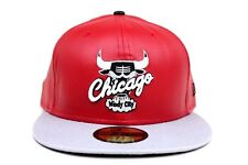 Chicago Bulls Scarlet Red Faux Gray Black Faux Under New Era 59Fifty Fitted Hat