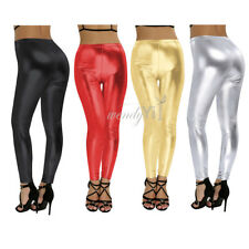 Womens Patent Leather Shiny High Waist Leggings Pants Legging Trousers Pants AU