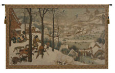 Hunting in the Snow by Bruegel Italian Woven Hunting Scene Tapestry Wall Hanging