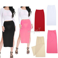 New Ladies Womens Sheer Mesh See Through Stretchy Waistband Bodycon Pencil Skirt