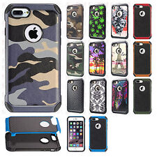 For Apple iPhone 8 & 8 PLUS Rubber IMPACT TRI HYBRID Case Skin Phone Cover