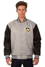 Pittsburgh Penguins NHL Jacket Poly Twill Gray Black Embroidered Logos Licensed