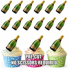 PRE-CUT 34th Birthday Champagne Bottle Edible Cup Cake Toppers Cake Decorations