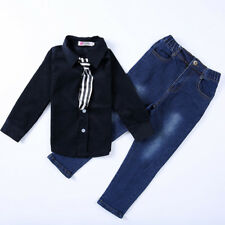 2pcs Toddler baby boys tops +Denim pants Outfits & set boys gentleman clothes