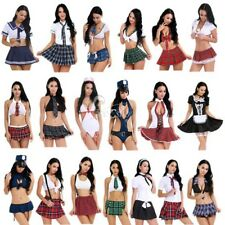 Women's Lingerie Naughty School Girl Uniform Outfit Fancy Dress Crop Top Costume