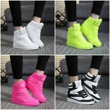 Womens Sneakers Lace Up Athletic High Top New Wedge Heel Casual Shoes Boots O