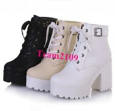 Womens Lace Up Chunky High Heels Platform Goth Creeper Ankle Boots Motor Shoes T