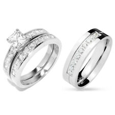 LOVERS Stainless Steel His 9 round CZs Band /Hers Princess Cut CZ marriage Set