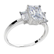 Sterling Silver Cubic Zirconia 3-stone Bridal Engagement Ring (China)