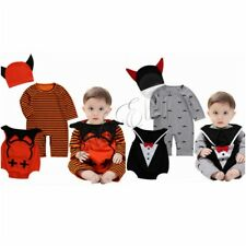 Baby Girls Boys Pumpkin Devil Romper Bodysuit Hooded Jumpsuit Halloween Costume