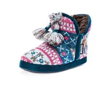 Muk Luks Slippers Womens Pennley Faux Fur Lining Pull On Blue 0016932