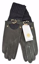 NEW Tory Burch Women's Olive Grey Leather Cashmere Wool Gloves 6.5, 7, 7.5