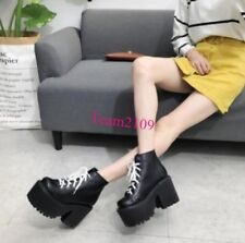 Punk Goth Womens Lace Up Platform Ankle Boots Motor Shoes Chunky High Heel Retro