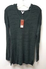 Sonoma Life + Style Womens Long Sleeve Pullover  V Neck Hooded Sweater Green