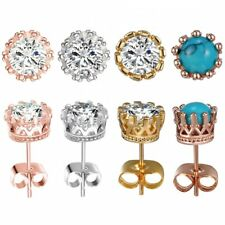 Women Fashion Elegant Round CZ Turqouise Crown Ear Stud Earrings Jewelry Gift