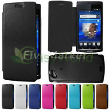 New Leather Flip Back Cover Case For Sony Ericsson Xperia Arc S LT18i X12 LT15i