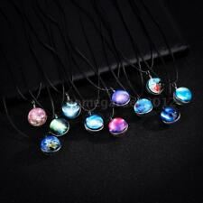 Dreamy Crystal Ball Star Glass Galaxy Pattern Pendant Necklace Jewelry Gift R9K9