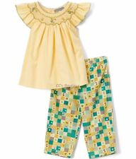 Girls LES PETITS SOLEILS boutique outfit 12M 24M NWT smocked bishop shirt pants