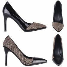 Women Ladies Studded Patent Toe Classic Courts High Heels Pumps Shoes Work Party
