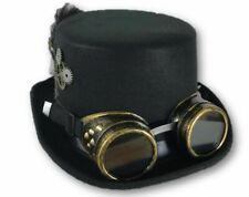 Victorian Deluxe Steampunk Top Hat Goggles Gears Feathers Costume Accessory