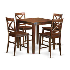 VNQU5-W Mahogany Rubberwood Five-piece Counter-height Dining Table Set With Four