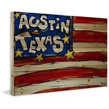"Marmont Hill - ""Austin Flag"" by Tori Campisi Painting Print on Natural Pine Wood"