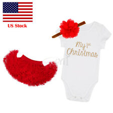 US STOCK Toddler Kids Girls Christmas Dress + Headband Outfit Costume Xmas Set
