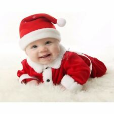 Newborn Baby Boy Girl Christmas Santa Claus Jumpsuit Romper Top+Pants+Hat Outfit