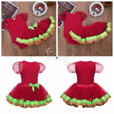 Newborn Baby Girls My First Christmas Romper Top Tutu Fancy Dress Costume Outfit