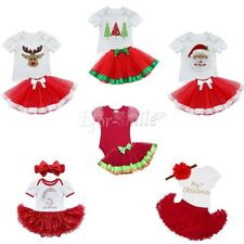 Infant Baby Girl Christmas Outfit Party Kids Romper Tutu Skirt Fancy Costume Set