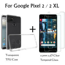 Ultra-thin Clear Soft Gel TPU Case+9H 2.5D Tempered Glass For Google Pixel 2/2XL