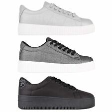 Womens Ladies Snakeskin Platform Lace Up Plimsolls Creepers Trainers Sport Shoes