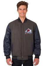 Colorado Avalanche NHL Jacket Wool Leather Sleeves Reversible Embroidered Logos